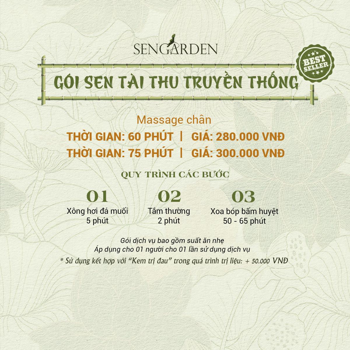 Bảng giá Sen Tài Thu - Sen Garden - Gói trị liệu truyền thống