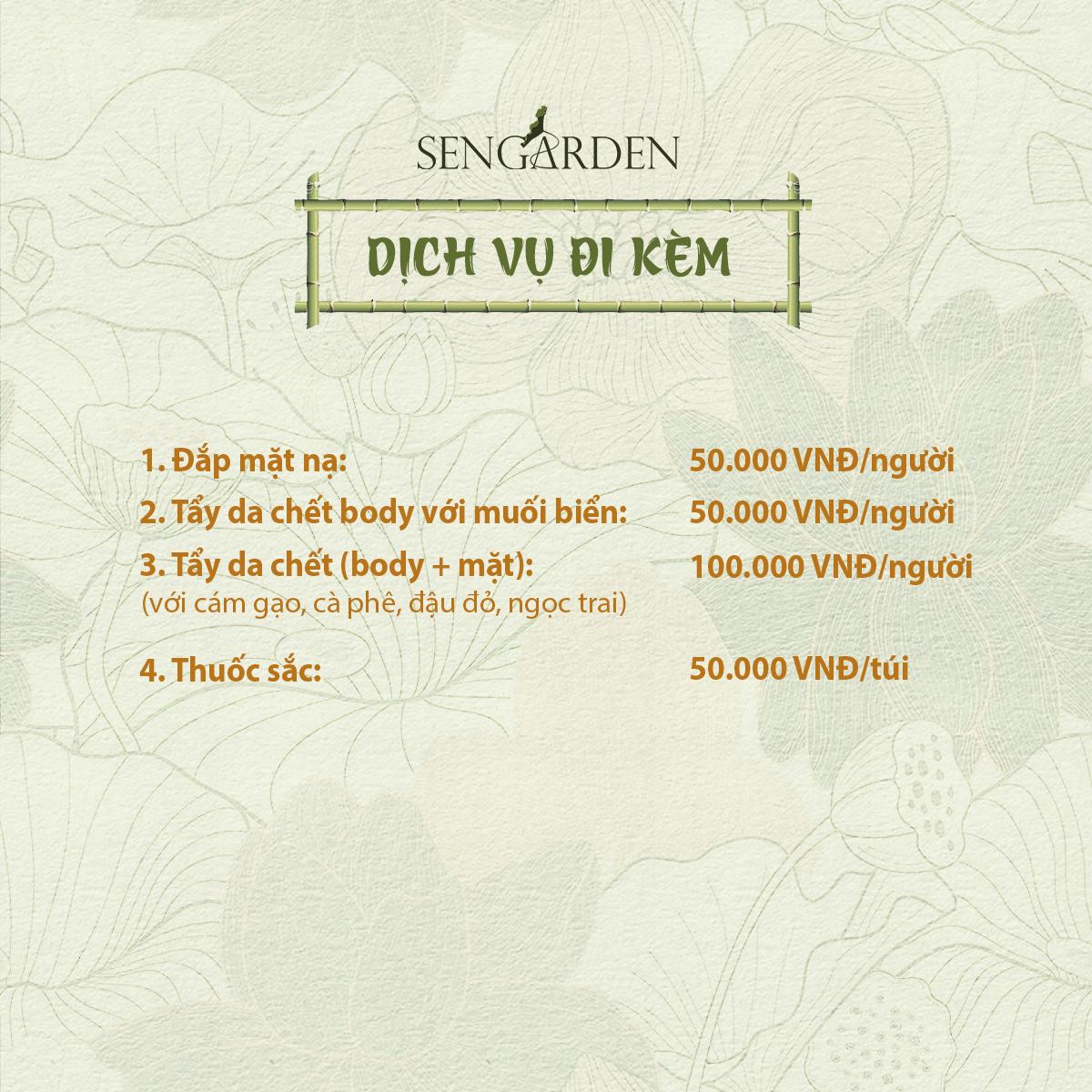 Bảng giá Sen Tài Thu - Sen Garden - Dịch vụ đi kèm