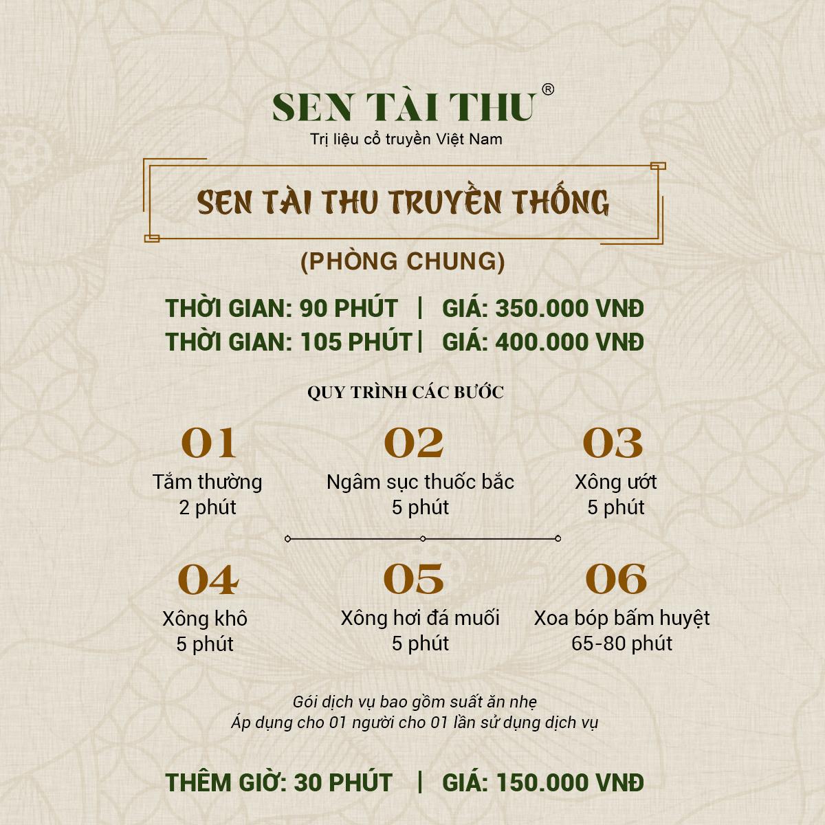 Bảng giá Sen Tài Thu Vĩnh Phúc - Phòng chung 90-105 phút