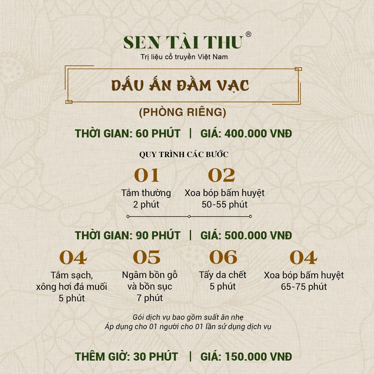 Bảng giá Sen Tài Thu Vĩnh Phúc - Phòng riêng 60-90 phút