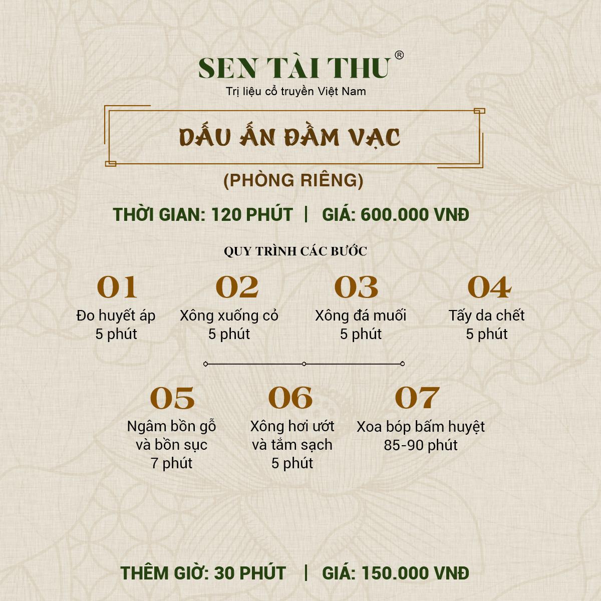 Bảng giá Sen Tài Thu Vĩnh Phúc - Phòng riêng 120 phút