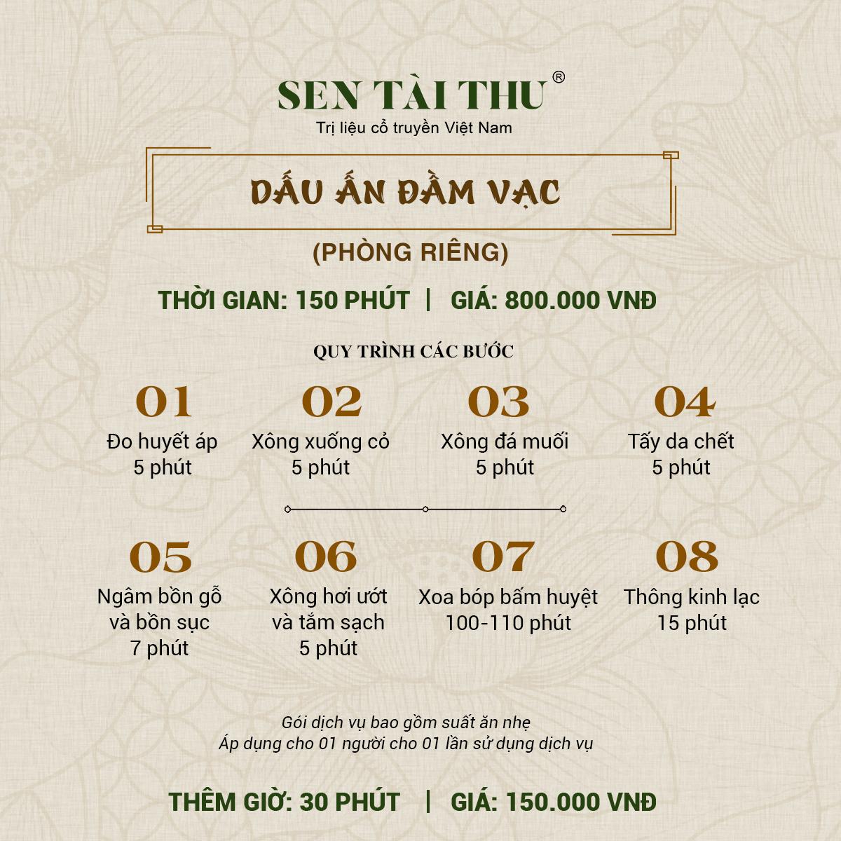 Bảng giá Sen Tài Thu Vĩnh Phúc - Phòng riêng 150 phút
