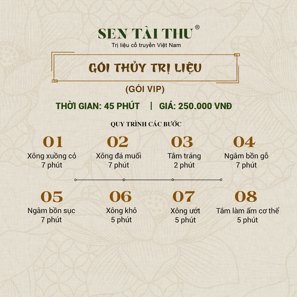 Bảng giá Sen Tài Thu Vĩnh Phúc - Thủy trị liệu gói VIP