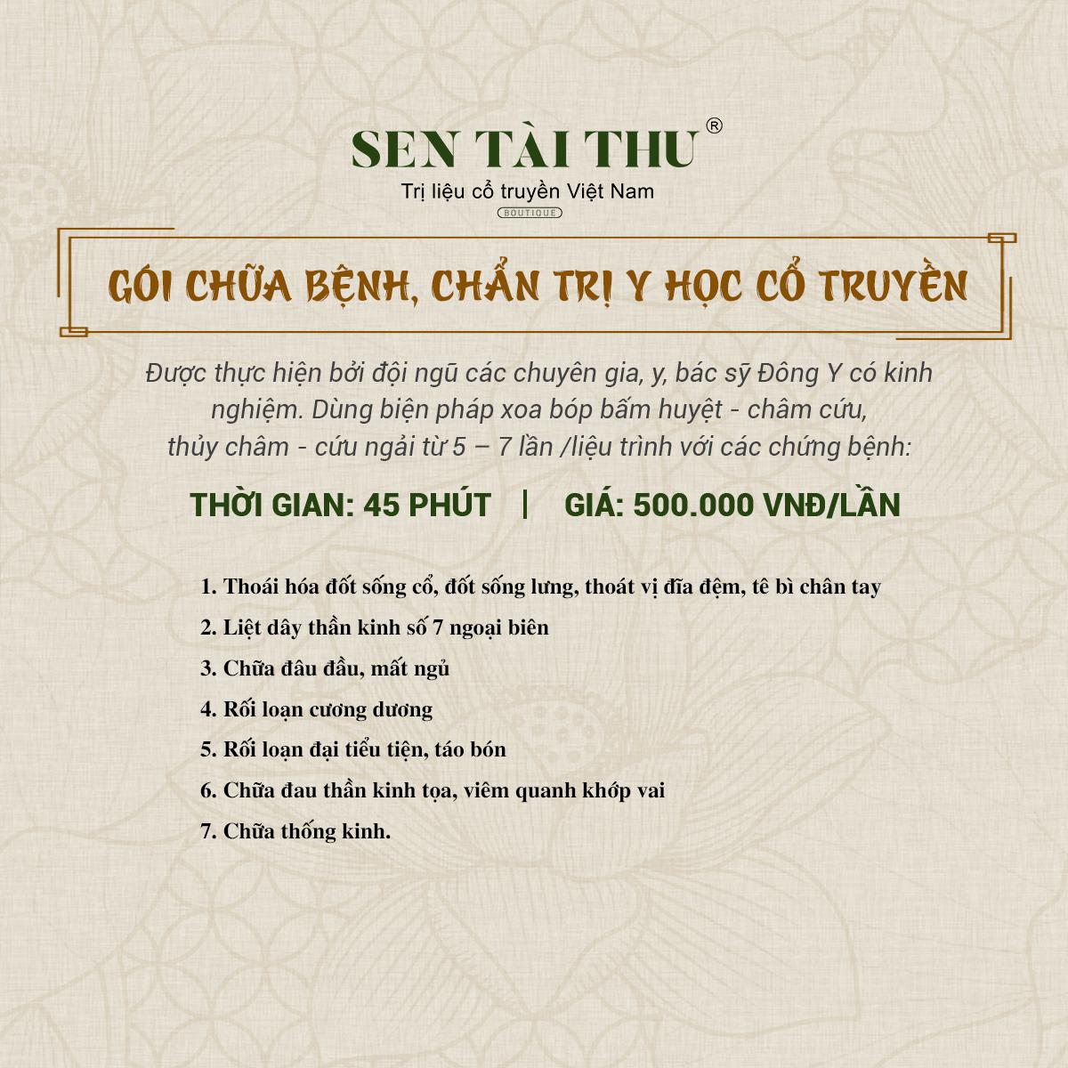 Bảng giá Sen Tài Thu Long Biên - Gói trị chữa bệnh, chẩn trị